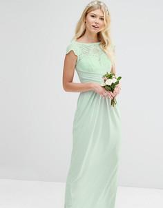 Платье макси с кружевным топом и плиссировкой ASOS PETITE WEDDING - Зеленый