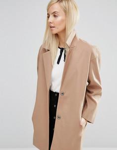 Пальто-кокон в мальчишеском стиле ASOS PETITE - Бежевый