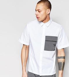 Рубашка с короткими рукавами, контрастным карманом и кромкой на завязке Black Eye Rags - Белый