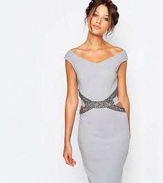 Платье-футляр с декоративной отделкой и вырезами на поясе Little Mistress Tall - Серый