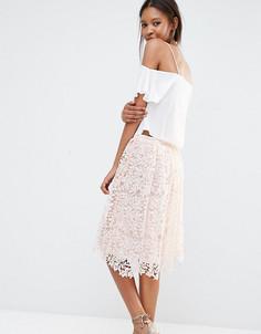 Пышная кружевная юбка миди Missguided Tall - Розовый