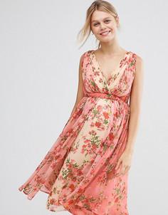 Платье миди с цветочным принтом с эффектом омбре ASOS Maternity - Мульти