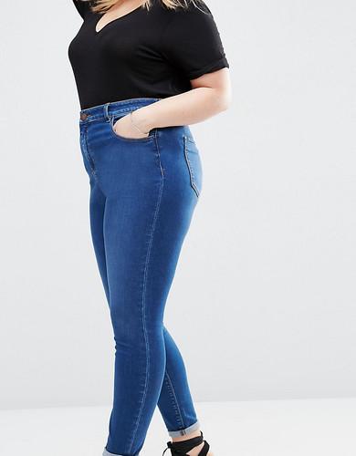 Выбеленные джинсы скинни с завышенной талией ASOS CURVE Ridley - Синий