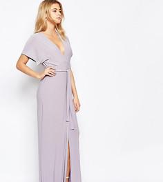 Платье макси с глубоким вырезом, завязками спереди и вырезом Love - Серый