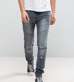 Серые выбеленные байкерские джинсы узкого кроя Liquor N Poker - Серый