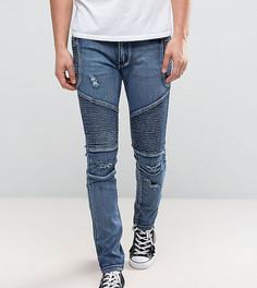 Синие зауженные байкерские джинсы с рваной отделкой Liquor N Poker - Синий