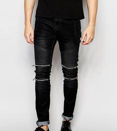 Байкерские джинсы скинни черного цвета Liquor N Poker - Черный