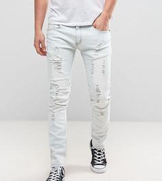 Голубые выбеленные джинсы узкого кроя с рваной отделкой Liquor N Poker - Синий