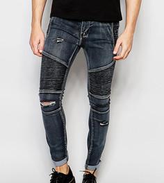 Черные выбеленные джинсы скинни в байкерском стиле с рваной отделкой Liquor N Poker - Черный