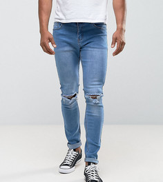 Светлые джинсы скинни с рваной отделкой Liquor N Poker - Синий