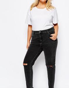 Черные выбеленные джинсы с завышенной талией и рваными коленями ASOS CURVE Farleigh - Черный