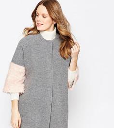 Серое пальто в стиле кимоно с пушистыми розовыми рукавами Helene Berman - Серый
