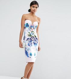 Платье-футляр бандо с цветочным принтом ASOS PETITE - Мульти