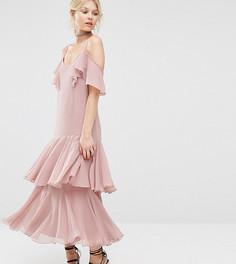 Платье макси с оборками ASOS PETITE Premium - Мульти