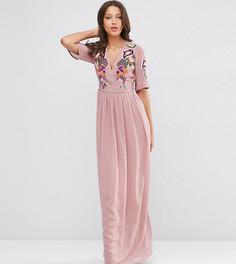 Платье макси с запахом и вышивкой ASOS TALL Premium - Красный