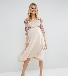 Плиссированное платье миди для беременных с кружевной отделкой ASOS Maternity - Мульти