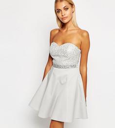 Платье-бандо мини для выпускного с пайетками Lipsy - Серебряный