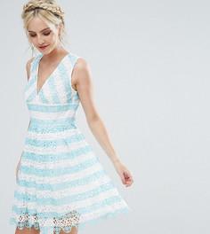 Кружевное платье мини в полоску ASOS PETITE SALON - Мульти