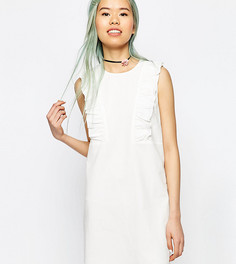 Цельнокройное платье с оборками ASOS PETITE - Белый