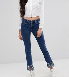 Прямые джинсы с бахромой по краю Waven Tall - Синий