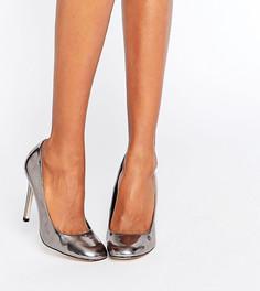 Туфли на высоком каблуке с квадратным носком ASOS PLAYTIME - Серебряный