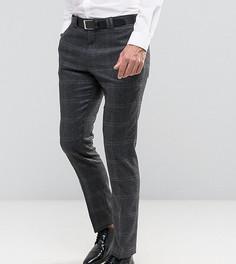 Строгие зауженные брюки с начесом в клетку Noak - Серый
