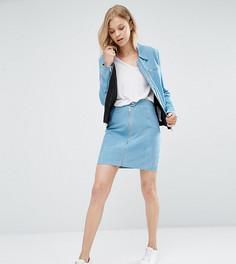 Замшевая мини-юбка на молнии ADPT Tall - Синий