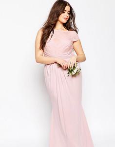 Плиссированное платье макси с кружевным топом ASOS CURVE WEDDING - Розовый