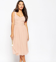 Платье миди с драпированной вставкой ASOS TALL WEDDING - Розовый