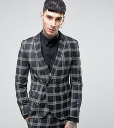 Супероблегающий двубортный пиджак в клетку с цепочкой Noose & Monkey - Черный