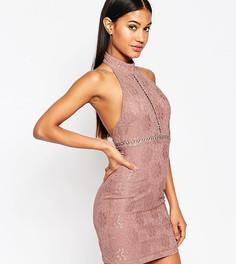 Кружевное платье-футляр с высокой горловиной NaaNaa - Фиолетовый