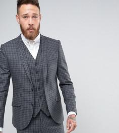 Зауженный пиджак в клетку Heart & Dagger - Серый