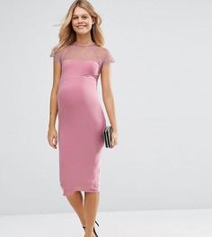 Облегающее платье миди с кружевной вставкой ASOS Maternity - Розовый