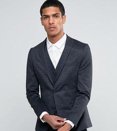 Чесаный пиджак скинни в однотонную клетку Selected Homme - Серый