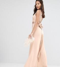 Декорированное платье макси с бантиками сзади TFNC WEDDING - Розовый