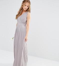Платье макси с запахом и складками TFNC WEDDING - Серый