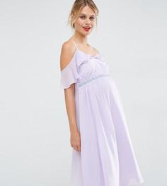 Платье миди с открытыми плечами для беременных ASOS Maternity - Фиолетовый