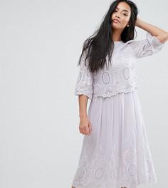 Платье миди с вышивкой ASOS PETITE PREMIUM - Фиолетовый