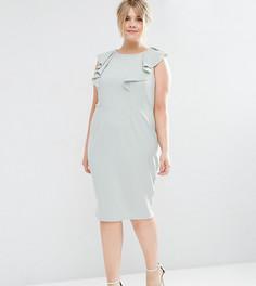 Облегающее платье с оборкой ASOS CURVE - Зеленый