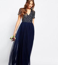 Тюлевое платье макси с v-образным воротом и пайетками Maya Tall - Темно-синий