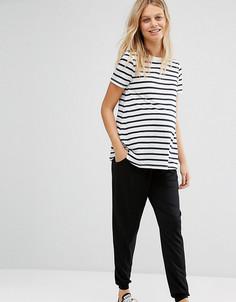 Трикотажные брюки-галифе для беременных со шнурком ASOS Maternity - Черный