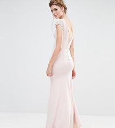 Платье макси с кружевными рукавами и пуговицами сзади Jarlo Wedding - Розовый