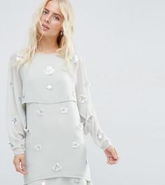 Платье мини с кроп-топом и отделкой 3D ASOS TALL - Серый