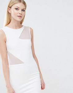 Облегающее платье с сетчатыми вставками TFNC Petite - Белый