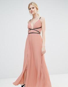 Плиссированное платье макси True Decadence Petite - Розовый