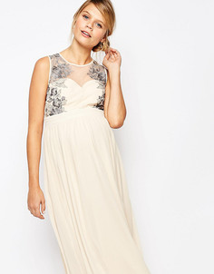 Приталенное платье для беременных с кружевной отделкой Little Mistress Maternity - Кремовый