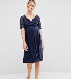 Кружевное платье миди для кормления ASOS Maternity - Темно-синий