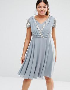 Платье миди с запахом и короткими рукавами Lovedrobe Luxe - Серый