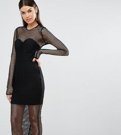 Черное сетчатое платье миди с длинными рукавами TTYA Atlanta - Черный Taller Than Your Average