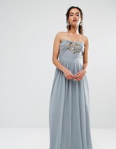 Платье-бандо макси с вышивкой Maya Petite - Серый